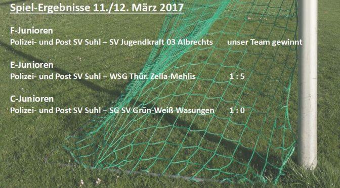 Spielergebnisse 11. – 12. März 2017