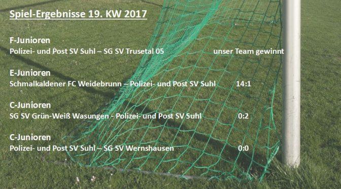 Spielergebnisse 19. KW 2017